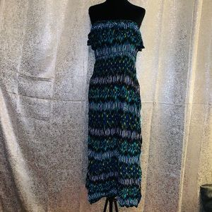 Dresses & Skirts - Blue Green and Black Print Strapless Maxi Size M
